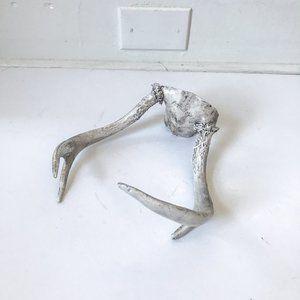 Vintage White Washed Deer Antlers Decor Piece